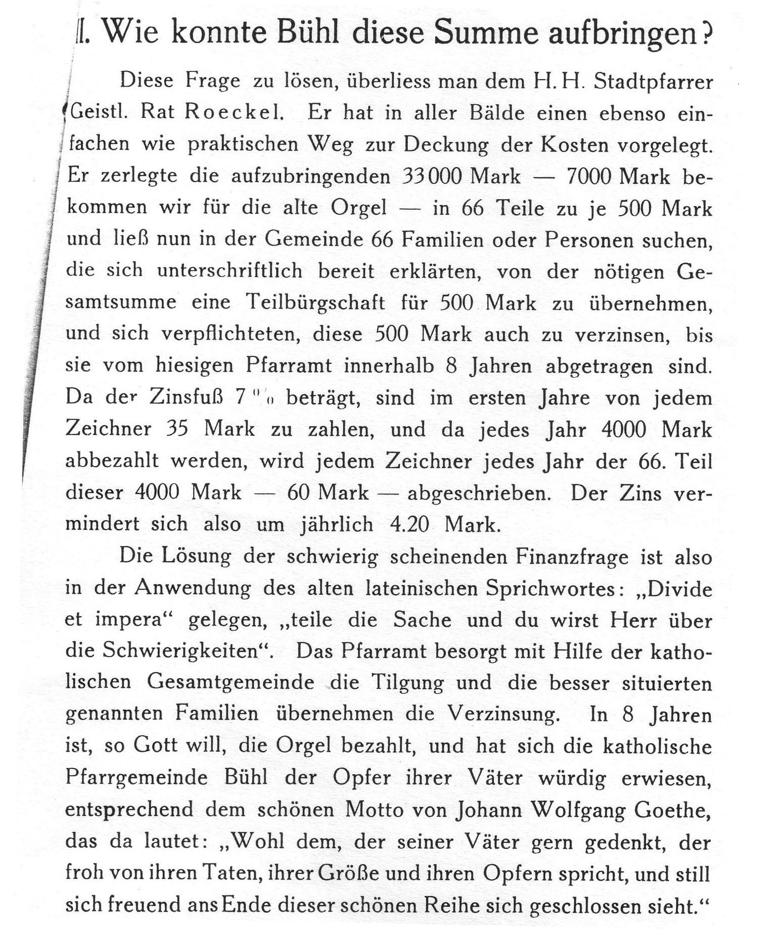 Finanzierung der Orgel, Festschrift 1928
