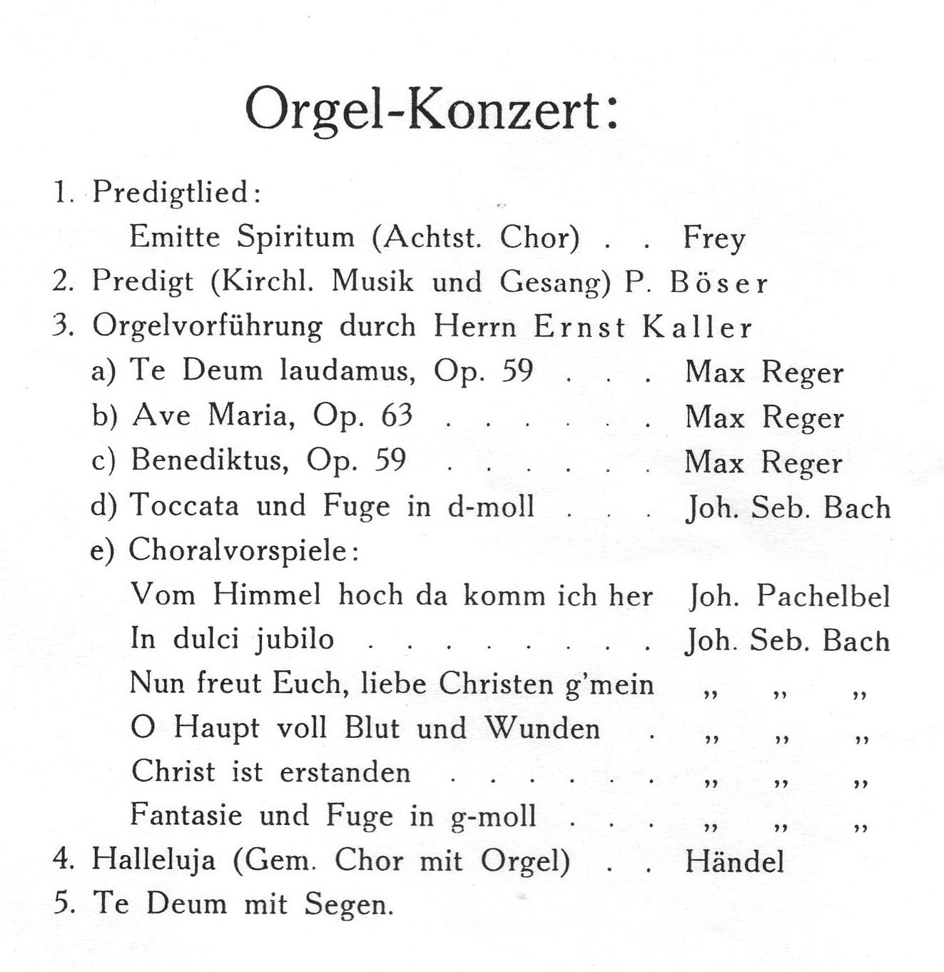 Programm des Einweihungskonzert mit Ernst Kaller, Festschrift 1928